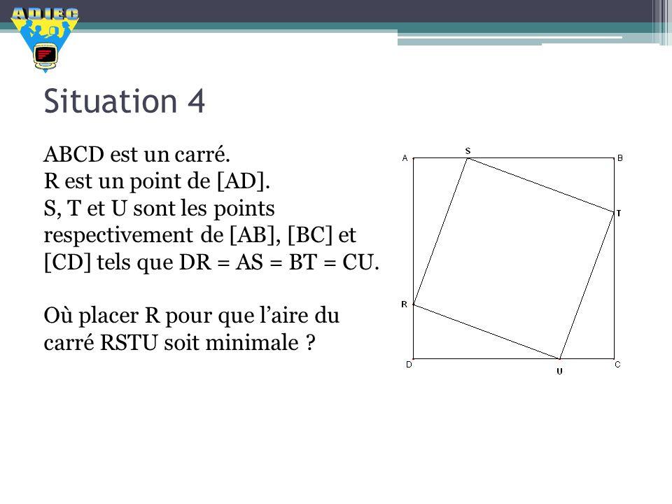 Situation 4 ABCD est un carré. R est un point de [AD].